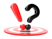 Exclamation and question mark and target Royalty Free Stock Photos