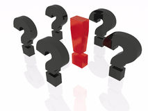 Exclamation and question marks. On white background Royalty Free Stock Photography