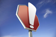 Exclamation road sign Stock Image