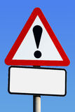 Exclamation road sign. With a blank space for text Royalty Free Stock Image