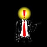 Exclamation rouge Mark Head Concept de lien de costume de silhouette d'homme Images stock