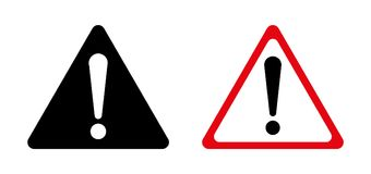 Exclamation sign, Danger Warning, Isolated, Caution icon Warning symbol,. Red, black and white Stock Photo