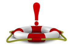 Exclamation sign into lifebuoy on white background Stock Photography
