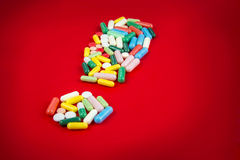Exclamation sign made of pills Royalty Free Stock Image