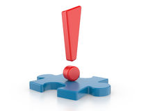Exclamation sign with puzzles. Stock Images