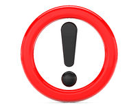 Exclamation Sign in Red Ring Royalty Free Stock Photos