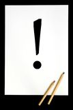 Exclamation symbol. White sheet of paper with ! symbol Royalty Free Illustration