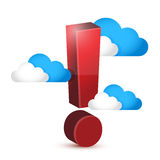 Exclamation symbol around clouds. illustration Stock Photos