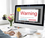 Exclamation Warning Caution Popup Concept. Computer Screen Exclamation Warning Caution Popup royalty free stock images
