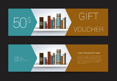 Excllusive Book store gift voucher template. Simply  modern design. Stock Photos