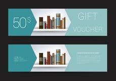 Excllusive-Buchladen-Geschenkgutscheinschablone Einfach modernes Design Lizenzfreies Stockbild