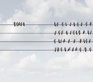 Excluded Group Concept. Excluded group business concept as birds on a wire with a small team perched away and apart from the majority as a social metaphor for stock illustration