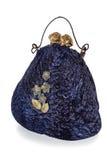 Exclusief met de hand gemaakt stuk speelgoed in de vorm van blauwe geïsoleerde handtas, royalty-vrije stock afbeelding