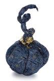 Exclusief met de hand gemaakt stuk speelgoed in de vorm van blauwe geïsoleerde pompoen, stock foto's
