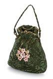 Exclusief met de hand gemaakt stuk speelgoed in de vorm van groene geïsoleerde handtas, stock afbeelding