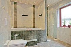 Exclusief Zweeds badkamersbinnenland Stock Afbeeldingen