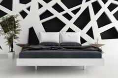 Exclusieve B&W-Ontwerpslaapkamer | 3d Binnenlandse architectuur Stock Foto's