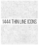 Exclusieve 1444 dunne geplaatste lijnpictogrammen Stock Fotografie