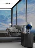 Exclusieve moderne ontwerpslaapkamer met luchtmening Royalty-vrije Stock Afbeelding