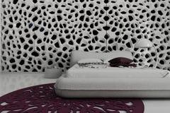 Exclusieve Ontwerpslaapkamer | 3d Binnenlandse architectuur Royalty-vrije Stock Afbeeldingen