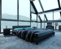 Exclusieve Ontwerpslaapkamer | 3d Binnenlandse architectuur Stock Afbeelding