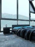 Exclusieve Ontwerpslaapkamer | 3d Binnenlandse architectuur Royalty-vrije Stock Foto