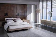 Exclusieve Ontwerpslaapkamer | 3d Binnenlandse architectuur Royalty-vrije Stock Foto's