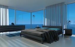 Exclusieve Ontwerpslaapkamer met zeegezichtmening Royalty-vrije Stock Afbeelding