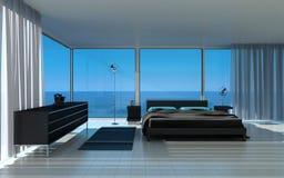 Exclusieve Ontwerpslaapkamer met zeegezichtmening Royalty-vrije Stock Foto