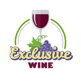 Exclusieve Wijn Logo Icon Symbol van Elitedrank Stock Foto's