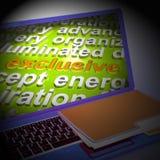Exclusieve Word Wolk Laptop Shows Limited het Unieke 3d Teruggeven vector illustratie