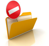 Exclusion Folder. 3d render of Exclusion folder. White background stock illustration