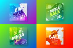 Abstract sale vector banner design template bundle. Special offer discount social media promotion illustration layout set. Exclusive abstract sale vector banner royalty free illustration