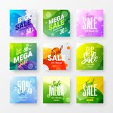 Abstract sale vector advertising banner design template bundle. Special offer discount social media illustration layout set. Exclusive abstract sale vector stock illustration