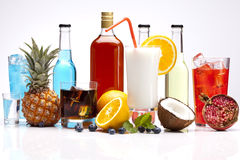 Exclusive alcohol drinks set with fruits Stock Photos