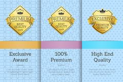 Exclusive Award 100 Premium High End Quality. Vector illustration of golden labels with crowns and ribbons, logos set isolated on various patterns royalty free illustration