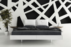 Exclusive B&W Design Bedroom | 3d Interior architecture. A 3d rendering of an exclusive Design Bedroom | 3d Interior architecture Stock Photos