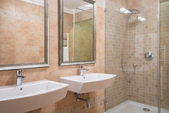 Exclusive bathroom with shower Stock Photos