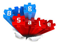 Exclusive BIG SALE puzzle and torn paper. Big sale made from puzzle and torn paper Stock Image