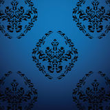 Exclusive black baroque pattern. Blue background with floral vector illustration