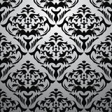 Exclusive black baroque pattern. With floral stock illustration