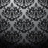 Exclusive black baroque pattern. With floral vector illustration