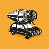 Exclusive car tuning. Vintage car with a big modern turbine royalty free illustration