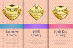 Exclusive Choice, 100 Quality Vector Illustration. Exclusive choice, 100 quality high and luxury, golden labels set with text and colorful decoration of Stock Photo