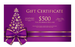 Exclusive Christmas gift certificate with purple r Royalty Free Stock Image