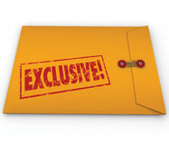 Exclusive Classified Information Content Yellow Envelope Word. Exclusive word stamped on a yellow confidential classified envelope to symbolize information or royalty free illustration