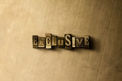 EXCLUSIVE - close-up of grungy vintage typeset word on metal backdrop Stock Images