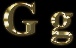 Exclusive collection font from brushed gold - G Stock Images