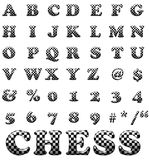 Exclusive collection letters with chess square Royalty Free Stock Images