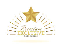 Exclusive collection sale golden badge. Gold label  illustration Stock Images